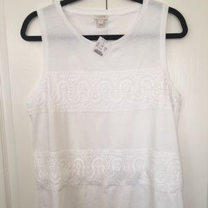 J Crew White Tank w/Lace. NWT.  Size Med. Darling!